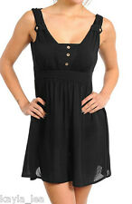 Black Smocked Back Babydoll Mini Tunic Tank Top