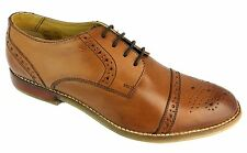 Ikon Grayson Men's Tan Brown Lace Up Leather Oxford Toe Brogue Style Shoes New