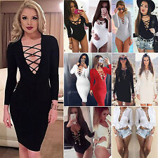 Sexy Womens Lace Up Bodycon Playsuit Bodysuit Bandage Party Evening Tunic Dress
