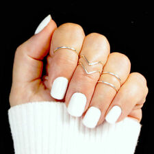 5Pcs/Set Fashion Women Gold Silver Above Knuckle Finger Ring Band Midi Rings T