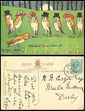 Louis Wain Signed Owls Birds We Shall be at Home at Write Away 1905 Old Postcard