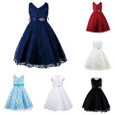 Girls Princess Flower Lace Special Occasion Wedding Party Communion Dress 2-12Y