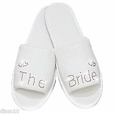 Personalised Slippers Diamante Wedding Bride Spa Guest Shoe Romantic Red