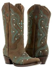 womens brown vintage western leather cowboy cowgirl boots rhinestones rodeo