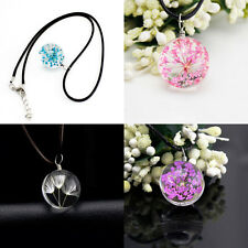 New Charming Crystal Glass Ball Flowers Dandelion Necklace Leather Chain Pendant