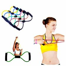 Resistance Band Yoga Pilates Abs Exercise Stretch Fitness Tube Workout Band New