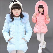 Kids Girls Padded Coat Hooded Jacket Fur Collar Warm Winter Big Child Outerwear
