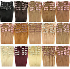 "6A 15"" 18"" 20"" Remy Human Hair Weft Extensions Straight 70g 17 Colors 7 pcs set"