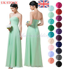 Formal Long Chiffon Bridesmaid Dress A-Line Party Prom Evening Dresses UK Stock