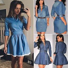 Women Ladies Long Sleeve Denim Jean T-shirt Casual Tops Short Mini Shirt Dress