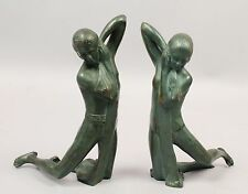 Vintage 1920s Pr Green Patinated Art Deco Nude Bronze Bookends for Restoration