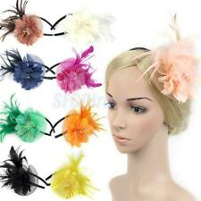 Fancy Dress Feather Fascinator Flower Veil Hat Hairband Party Costume