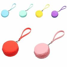 Women Cute Waterproof Silicone Macaron Coin Purses Clutch Zipper Strap Wallet