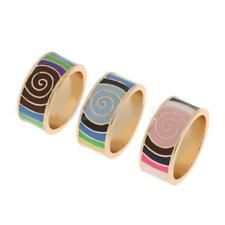Fashion Bright Color Whirl Geometric Enamel Finger Ring Tribal Band Jewelry