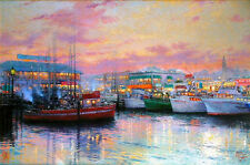 Thomas Kinkade Fisherman's Wharf RETIRED 12x16 Classic Edition Framed Canvas
