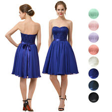 Short A-Line Bridesmaid Dress Chiffon & Lace Bridal Party Dress Evening Gown NEW
