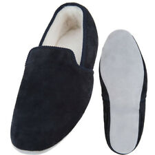 Lambland Mens Full Sheepskin Turn Slippers with Hard Suede Sole - Navy