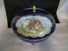 G9 Antique Handpainted Cobalt Porcelain Lidded Centerpiece Bowl Metal Base