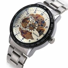 New Classic Mens Stainless Steel Dial Skeleton Mechanical Sport Army Wrist Watch