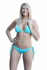 SpicySpot Lycra Lined String Bikini Top and Tie Sides Ruched Back Panty Set