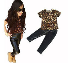 2pc Baby Girls Clothing Set Leopard Short Sleeve T-Shirt+ Pants outfit 3-7T