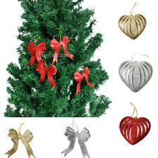 10pcs Glitter Love HEART Bowknot Christmas Tree Decoration Hanger Ornament