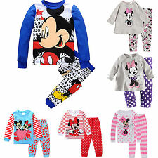 Kids Toddler Clothing Boys Girls Mickey Sleepwear Nightwear Pyjamas set 1-8Years