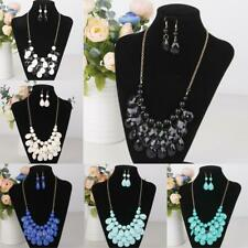 Fashion Wedding Bridal Multilayer Waterdrop Necklace Earring Jewelry Sets