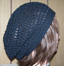 New Slouchy Hand Crochet Black Beanie Hat Tam Rasta Cotton Baggy Oversize