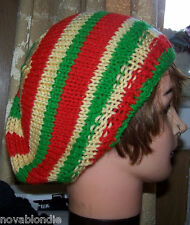 New Handmade Knit Slouchy Beret Beanie Tam Hat  Wool Cotton Red Yellow Gr Rasta