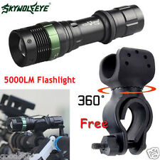 US Bright CREE XML T6 LED Zoomable Flashlight +Bicycle 360°Mount Clip Holder Lot