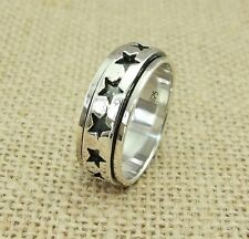 Mens Womens Plain 925 Sterling Silver Star Spinning Worry Band Ring 9mm
