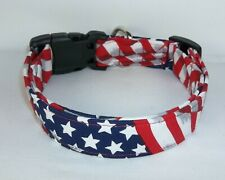 Stars & Stripes Waving Flag USA Terri's Dog Collar handmade charm adjustable