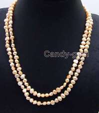 "Fashion Long 40"" Natural Pink 6-7mm Baroque freshwater pearl necklace-nec6107"