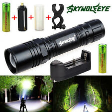 Tactical 6000Lm XM-L T6 LED Zoom Flashlight Torch Lamp + 18650 Battery + Charger
