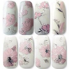 Relief Design Nail Art Stickers Wraps Decals Fingernail Flower Water Transfers