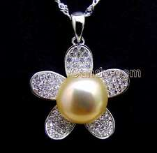 """11-13mm Pink Flat Round Pearl silver Flower Pendant 16"""" silver 925 necklace-6166"""