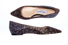 Jimmy Choo Ballet Shoes -25% LEATHER MADE ITALY Woman Br ROMY FLAT GLITTER-162