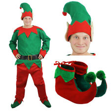 MENS ELF COSTUME 5 PIECE ADULTS CHRISTMAS FANCY DRESS XMAS OUTFIT HAT BOOTS BELT