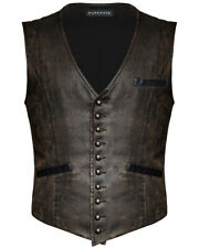 Punk Rave Steampunk Waistcoat Vest Brown Faux Leather Gothic Victorian Gentleman
