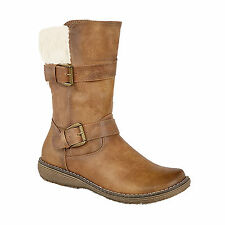 Ladies New Brown Inside Zip Twin Buckle Faux Fur Collar Mid Calf Boots UK 5 - 7
