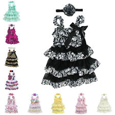 Baby Girl Toddler Kid Lace Tulle Dress+Headband Bow Ruffle Outfit Birthday Party