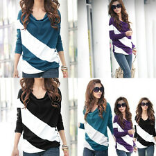 Women Cotton Long Sleeve Casual Striped T Shirt Batwing Loose Dolman Top Blouse