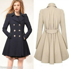 Womens Lady Elegant Double-Breasted Button Long Overcoat Lapel Coat Jacket Parka
