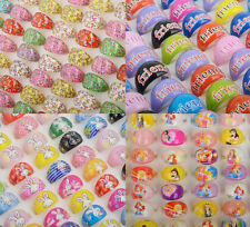 50PCS Wholesale Mixed Lots Fashion Resin Child Kid's Cartoon Friends Rings Gifts