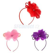 Lady Cocktail Feather Fascinator Big Flower Hair Clip Headband Wedding Headpiece