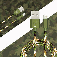 1/3/5FT Camouflage Nylon Braided Micro USB Data&Sync Charger Charging Cable Cord