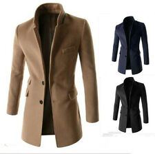 Stylish Mens Coat Casual Overcoat Two button Slim Wool Coats Long Jacket