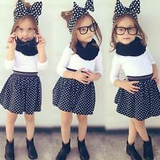 1-6Y Toddler Baby Girl Clothes T-shirt Tops + Polka Dot Skirt Set 2PCS Outfits