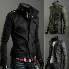 Black Men Zip Button Hooded Military Slim Fit Collar Jacket Coat Outwear Fashion
